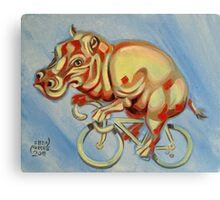 Hippopotamus On A Bicycle Canvas Print