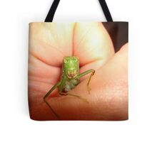 Safe in my hand...a katydid Tote Bag