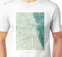 Chicago Map Blue Vintage Unisex T-Shirt