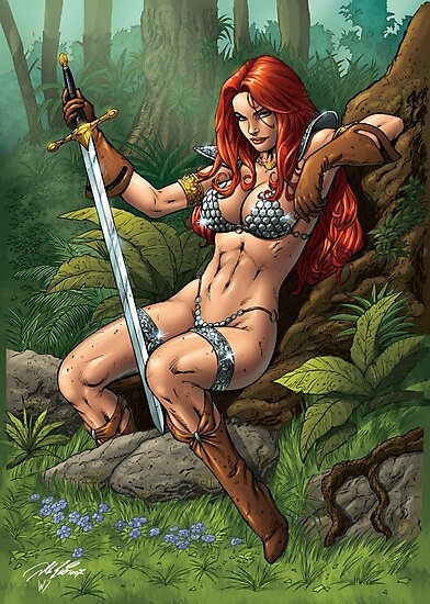 Red head Warrior with Sword. Waiting, resting. by alrioart