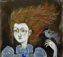Red hair girl with a nightingale by tarantella