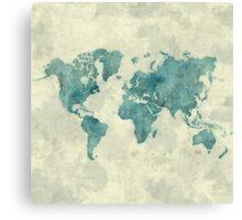 World Map Blue Vintage Canvas Print