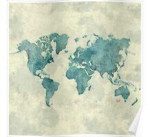 World Map Map Blue Vintage Poster