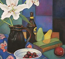 White Lilies in Black Vase with Guiness Bottle by Luisa Holden