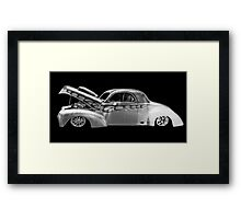 black and white with flames Framed Print