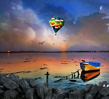 THE CANOE AND THE BALOON AT THE BEACH, by E. Giupponi by Elizabeth Giupponi