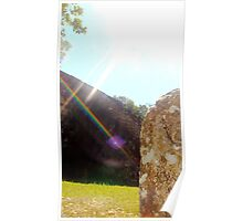 Rainbow Shining Down Over Ruins Poster