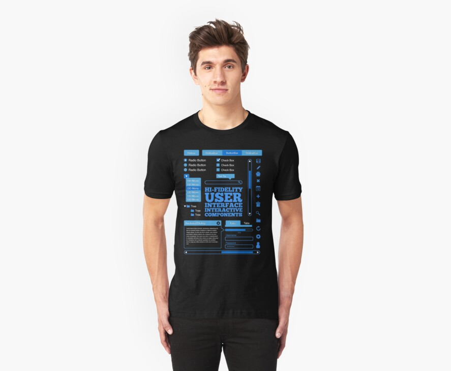 Hi-Fi User Interface Components T-Shirt by Tony Gil