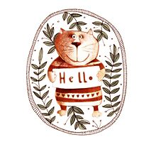 Cute cat who say Hello Photographic Print