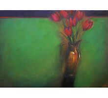 Tulips in copper jug by Lloyd Foye
