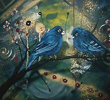 Bluebirds sitting on a Branch by Cherie Roe Dirksen