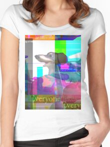 Dog of Wisdom Glitch 2 Women's Fitted Scoop T-Shirt