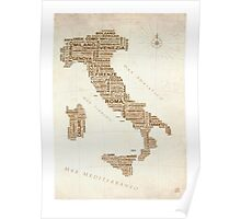 Italy Text Map Poster