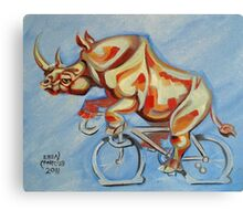 Rhino on a Bicycle Canvas Print