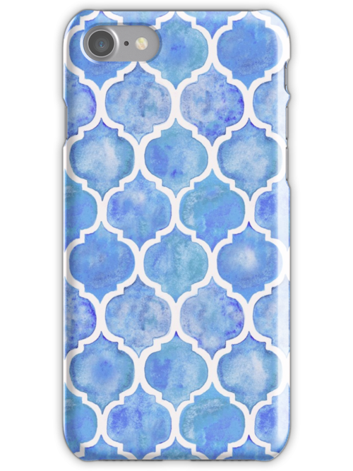 Cornflower Blue Moroccan Watercolor Pattern by micklyn