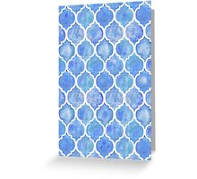 Cornflower Blue Moroccan Watercolor Pattern Greeting Card