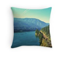Cascade Locks, Oregon...Old Hwy 30...Columbia River Throw Pillow