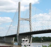 Barges under The Bill Emerson Bridge in Cape Girardeau, Mo by SusieG