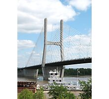 Barges under The Bill Emerson Bridge in Cape Girardeau, Mo Photographic Print