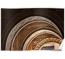Moorish arches in the Alhambra Place in Granada Spain  Poster