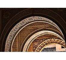 Moorish arches in the Alhambra Place in Granada Spain  Photographic Print
