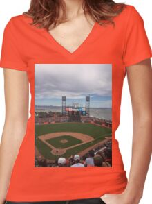 AT&T Park Women's Fitted V-Neck T-Shirt