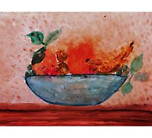 Antique look Bowl of Fruit, watercolor Photographic Print