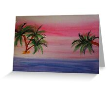 Fantastic Sunset on Beach,1st,watercolor Greeting Card