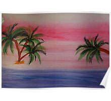 Fantastic Sunset on Beach,1st,watercolor Poster