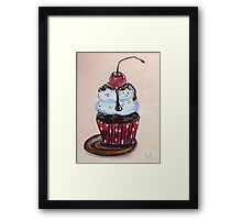 Chocolate Cupcake with a Cherry On Top Framed Print