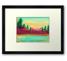 Pines Over Looking Lake, watercolor Framed Print