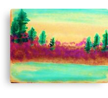 Pines Over Looking Lake, watercolor Canvas Print