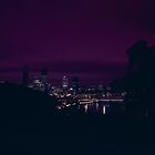 Perth city at night from Kings Park 1992 by BigAndRed