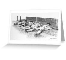 Lazy Cowboys Greeting Card