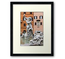 Marble Muscles - Fountain of Neptune, Piazza Navona, Rome, Italy Framed Print