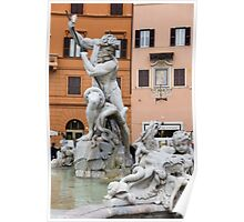Marble Muscles - Fountain of Neptune, Piazza Navona, Rome, Italy Poster