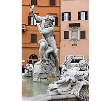 Marble Muscles - Fountain of Neptune, Piazza Navona, Rome, Italy Photographic Print