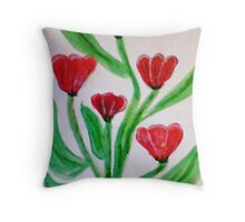 Red Tulips, watercolor Throw Pillow