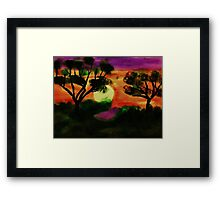WOW, what a sunset, watercolor Framed Print