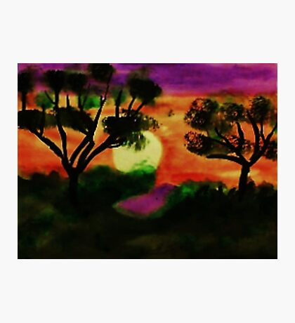 WOW, what a sunset, watercolor Photographic Print