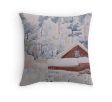 Little red building in the forest Throw Pillow