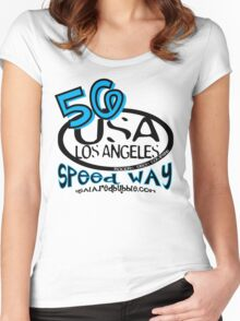 usa los angeles tshirt by rogers bros co Women's Fitted Scoop T-Shirt