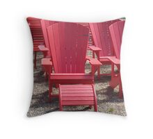Red Summer Chairs Throw Pillow