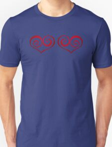Red Swirly Love Hearts Unisex T-Shirt