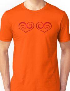 Red Swirly Love Hearts Unisex T-Shirt