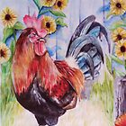 The Rooster and the Sunflowers by MiDulceLocura