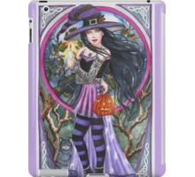 Halloween purple witch with cat and celtic design  iPad Case/Skin