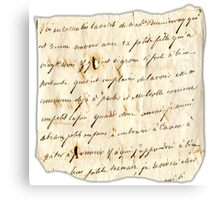Handwritten old letter Canvas Print