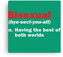 Funny Bisexual Dictionary Definition Quote Gay Phrase Canvas Print