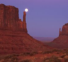 Full moon over Monument Valley by peterchristian